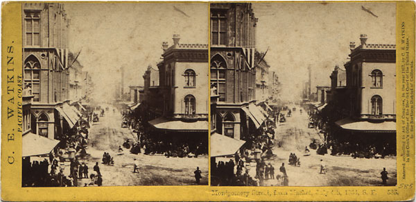 Watkins #585 - Montgomery St. from Market St, 4th July, 1864, S.F.