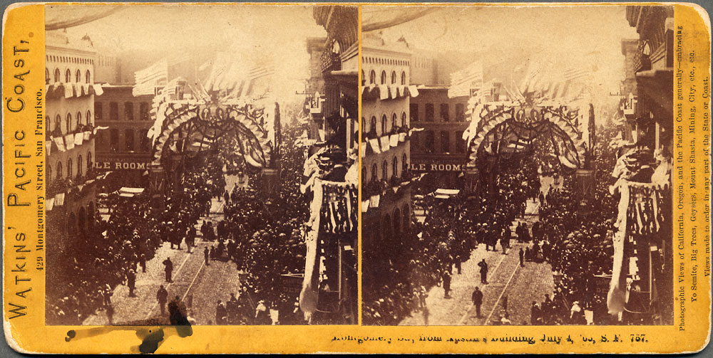 Watkins #757 - Montgomery Street, from Austin's Building, July 4, 1865, S.F.