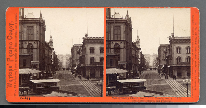 Watkins #1770 - Montgomery Street from New Montgomery and Market Sts, S.F.