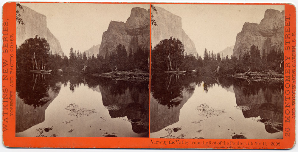 Watkins #3002 - View up the Valley from the foot of Coulterville Trail, Yosemite Valley, Mariposa County, Cal.